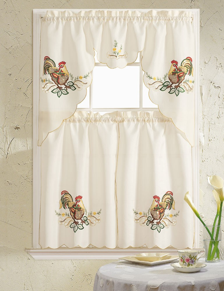 Rooster Embroidered 3 Piece Kitchen Curtain Swag & Tiers Set, Beige, 60X56 & 30X36 Pertaining To Chocolate 5 Piece Curtain Tier And Swag Sets (View 8 of 25)