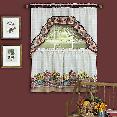 "Roosters & Fleur De Lis Kitchen Curtain 36"" Tier Pair & 30 With Traditional Tailored Tier And Swag Window Curtains Sets With Ornate Flower Garden Print (View 4 of 25)"