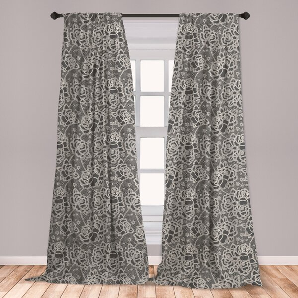 Rose Lace Curtains | Wayfair Throughout Marine Life Motif Knitted Lace Window Curtain Pieces (View 7 of 25)