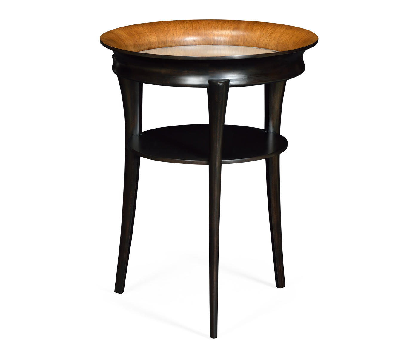 Round Charcoal & Walnut End Table With Antique Mirror Top With Regard To 2017 Icarus Round Bar Tables (View 18 of 25)