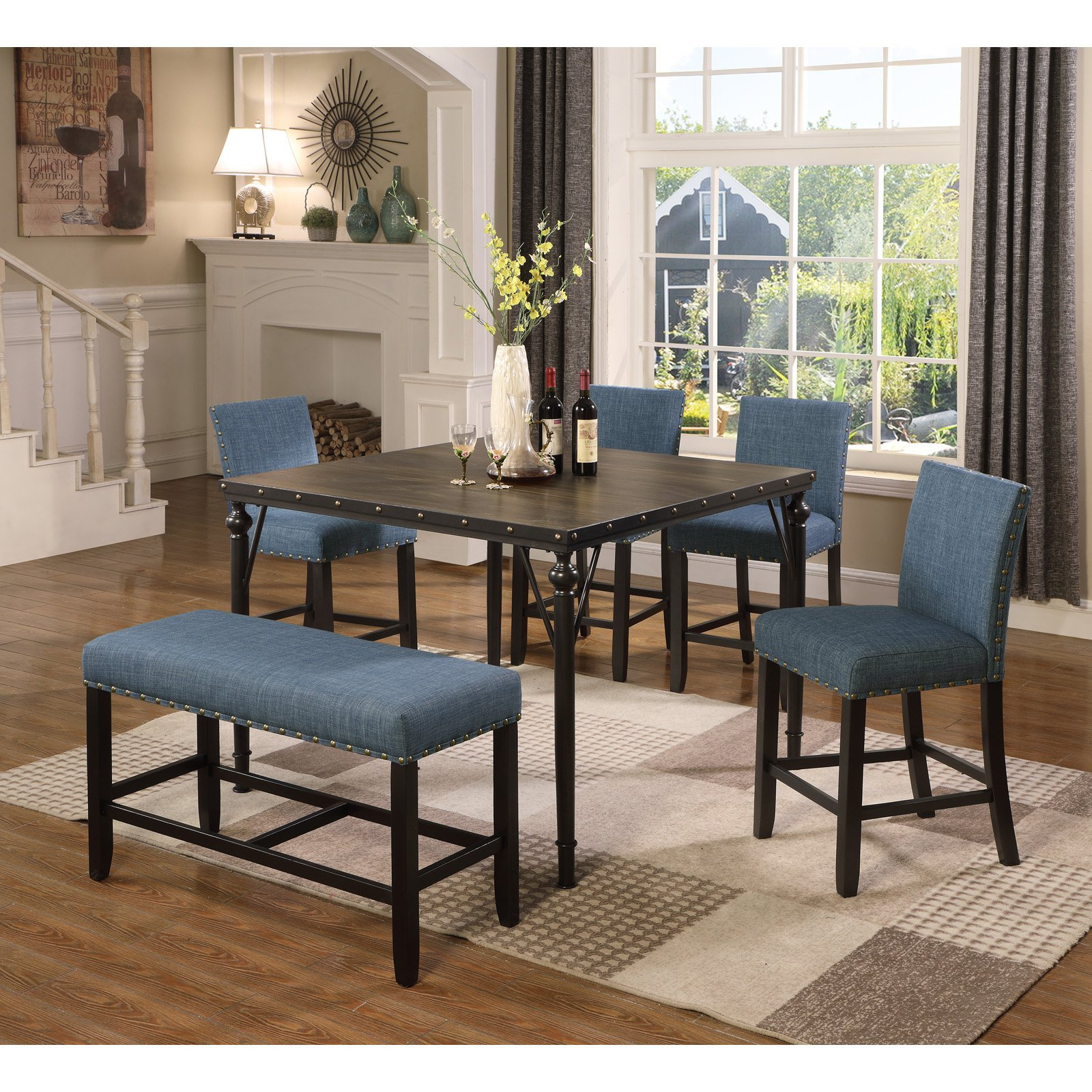 Roundhill Furniture Biony 6 Piece Square Counter Height In Best And Newest Benchwright Bar Height Dining Tables (View 9 of 25)