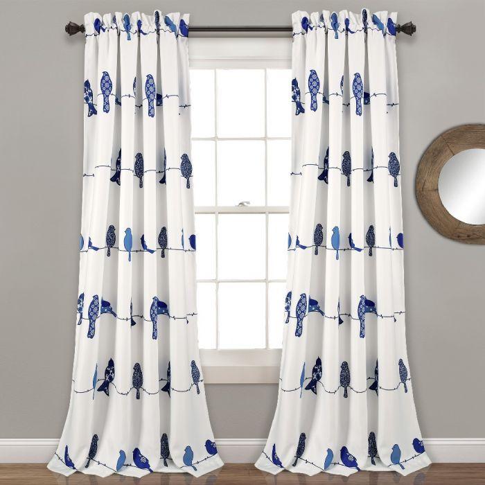 Rowley Birds Room Darkening Window Curtain Panels Navy 52X84+2 Set – Lush Decor 16T004123 Inside Rowley Birds Valances (View 13 of 25)