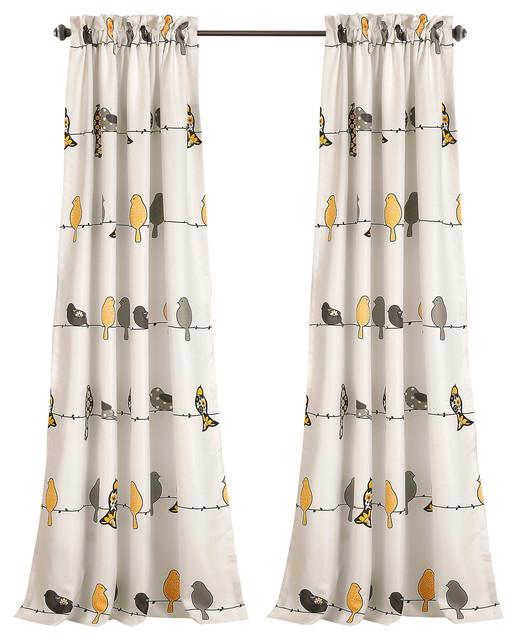 Rowley Birds Room Darkening, Yellow/gray, Pair In Rowley Birds Valances (View 10 of 25)