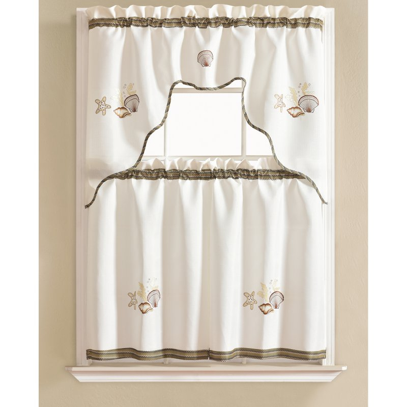Rt Designers Collection Grand Shell Embroidered Kitchen With Regard To Tree Branch Valance And Tiers Sets (View 14 of 25)