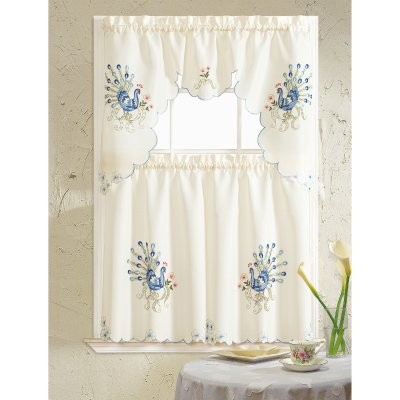 Rt Designers Collection Peacock Embroidered Kitchen Curtain For Urban Embroidered Tier And Valance Kitchen Curtain Tier Sets (View 2 of 25)