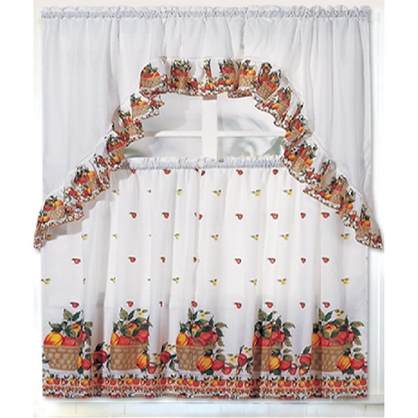 Rt Designers Collection Ruffle Fruit Basket Tier And Valance Kitchen Curtain Set Throughout Lemon Drop Tier And Valance Window Curtain Sets (View 20 of 25)