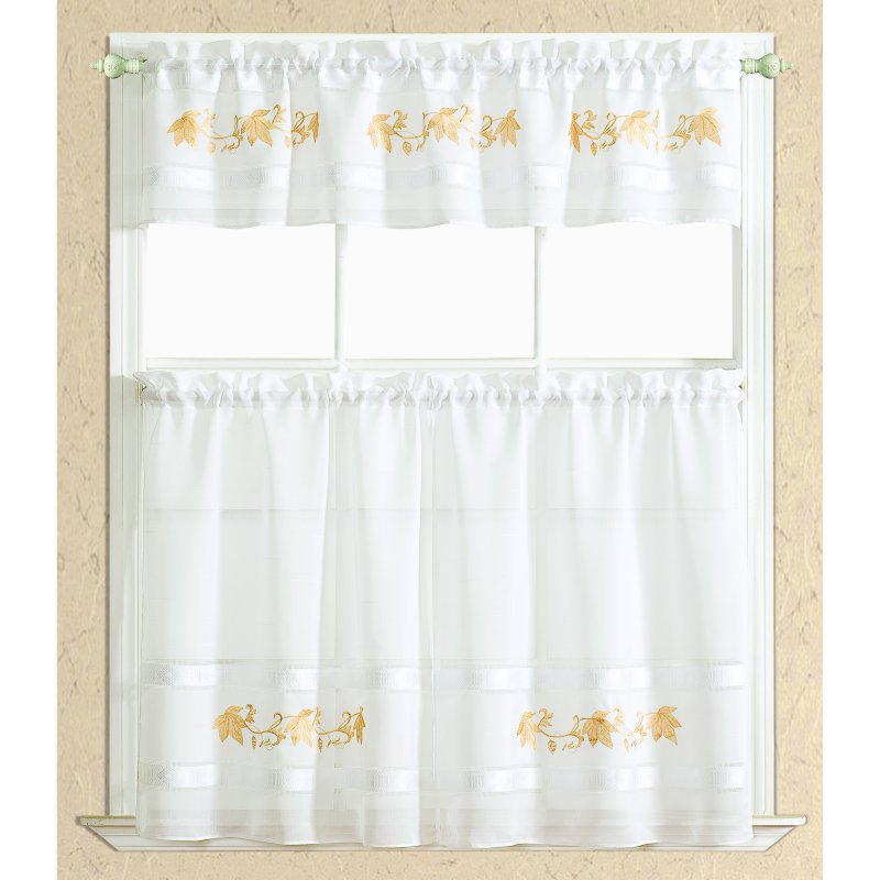 Rt Designers Collection Spring Leaf Kitchen Curtain Tier And Regarding Urban Embroidered Tier And Valance Kitchen Curtain Tier Sets (View 9 of 25)