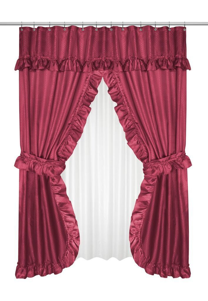 Ruffled Double Swag Shower Curtain With Valance & Tie Backs In Vertical Ruffled Waterfall Valances And Curtain Tiers (Image 14 of 25)
