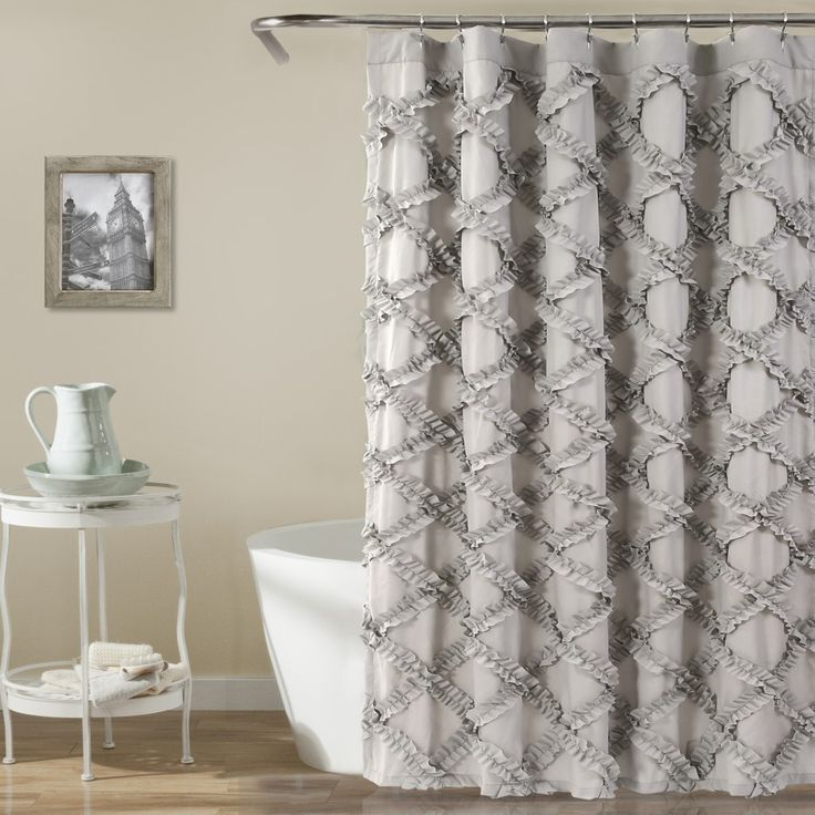 Ruffled Dove Shower Curtain In 2019 | Ruffle Shower Curtains Intended For Navy Vertical Ruffled Waterfall Valance And Curtain Tiers (View 4 of 25)