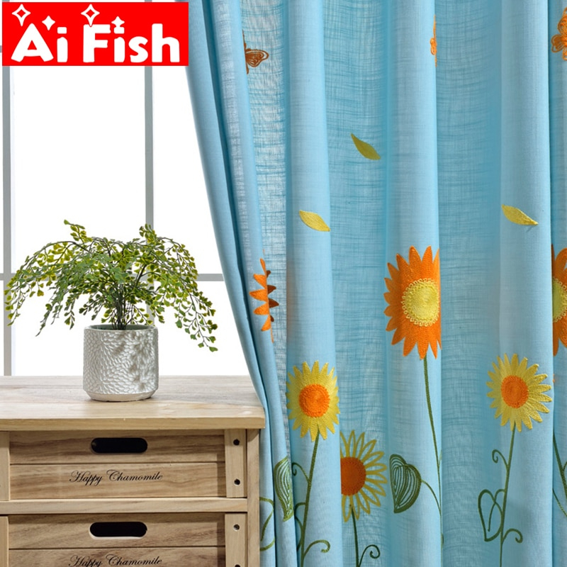 Rural Embroidered Sunflower Designer Curtain Tulle Window Sheer Curtain For Bedroom Kitchen Window Curtain Living Room Ap298 30 For Traditional Tailored Window Curtains With Embroidered Yellow Sunflowers (View 8 of 25)
