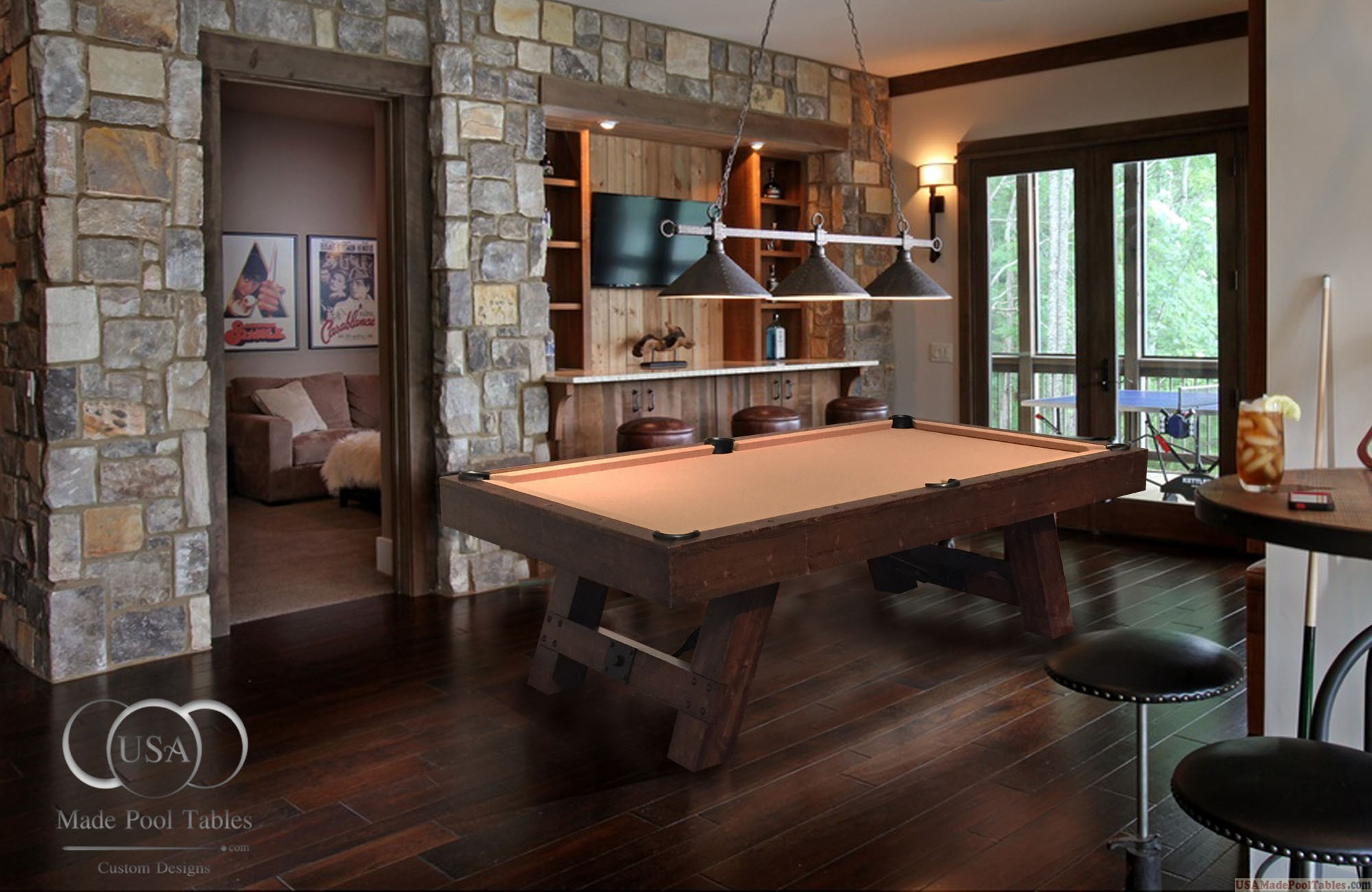 Rustic Billiard Tables : Rustic Pool Tables : Rustic Pool Inside Latest Rustic Mahogany Benchwright Dining Tables (View 23 of 25)