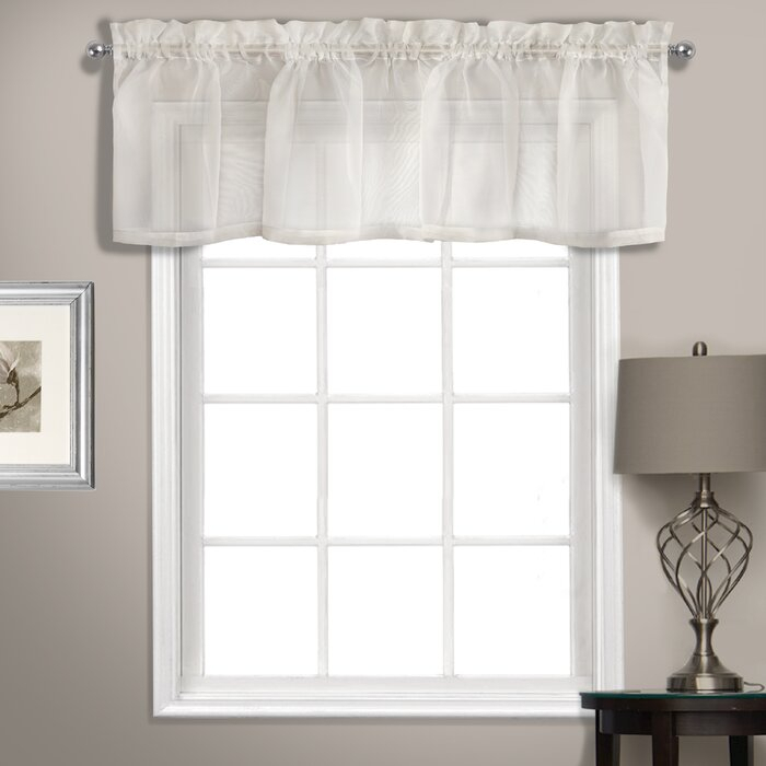 """Rutherford Sheer Voile Straight Topper 56"""" Window Valance With Regard To Luxury Light Filtering Straight Curtain Valances (Image 17 of 25)"""