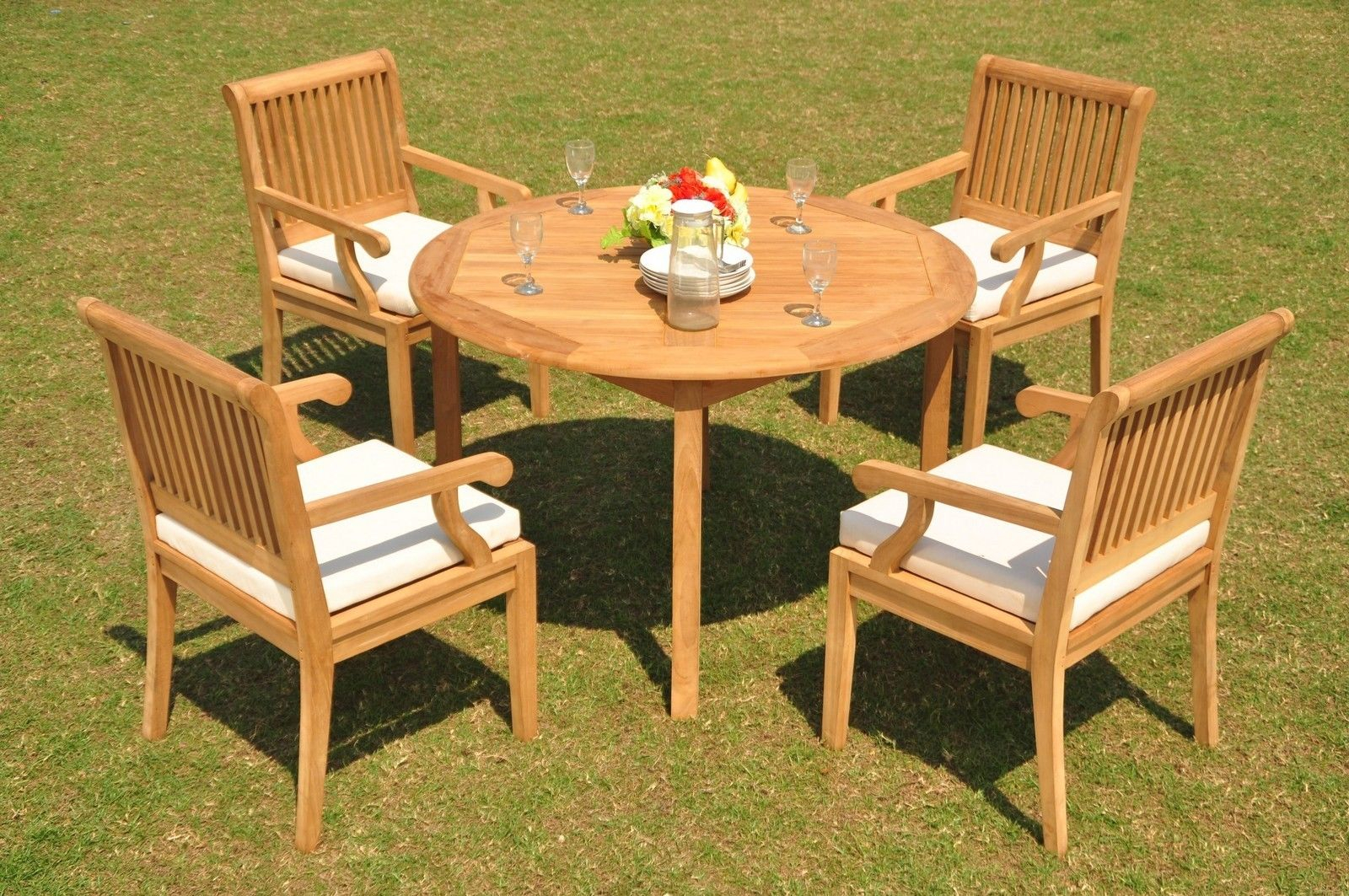 """Sack Grade A Teak Wood 5Pc Dining 48"""" Round Table 4 Arm Chair Set Outdoor  Patio Pertaining To Best And Newest Brooks Round Dining Tables (View 9 of 25)"""