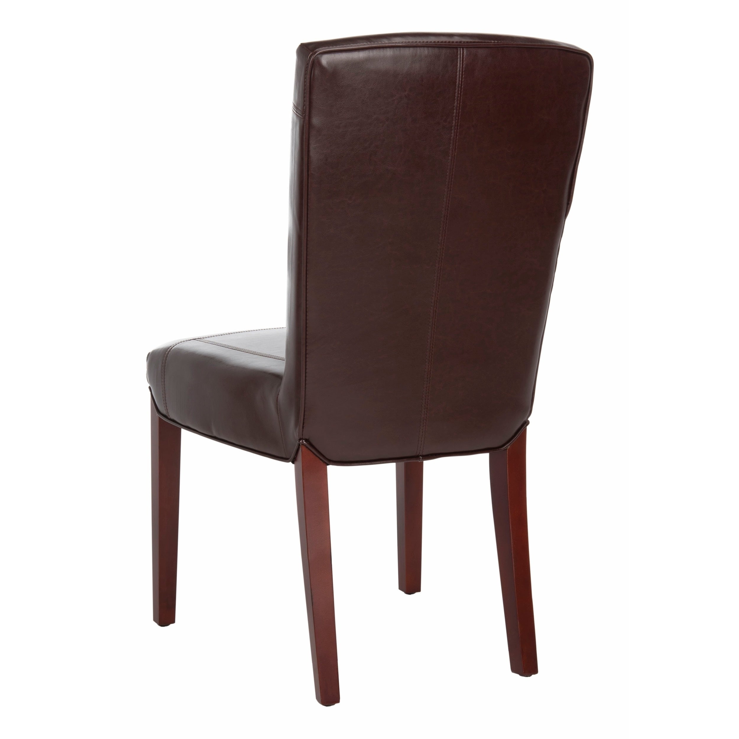 Safavieh Dining Parsons Bowery Brown Marbled Leather Dining Chairs (Set Of 2) Pertaining To Newest Bowry Reclaimed Wood Dining Tables (View 16 of 25)