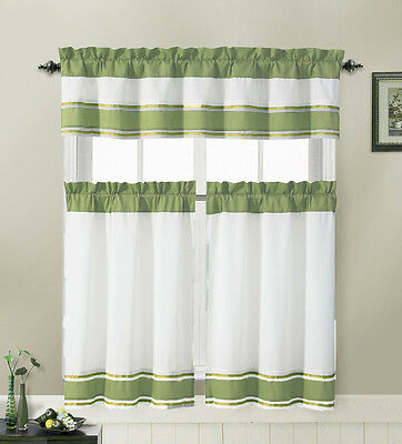 Sage And White 3 Piece Kitchen Window Treatment Set With Pintuck Accent Stripes 735735802796 | Ebay Inside Solid Microfiber 3 Piece Kitchen Curtain Valance And Tiers Sets (View 16 of 25)