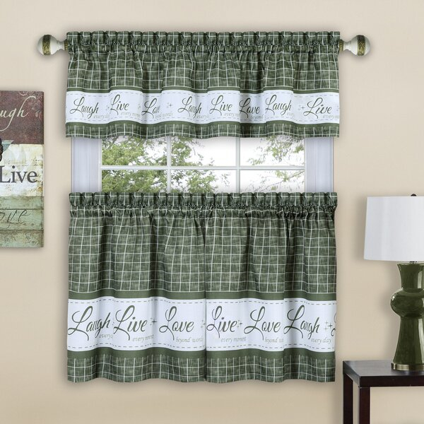 Sage Green Kitchen Curtains | Wayfair In Spring Daisy Tiered Curtain 3 Piece Sets (Image 20 of 25)