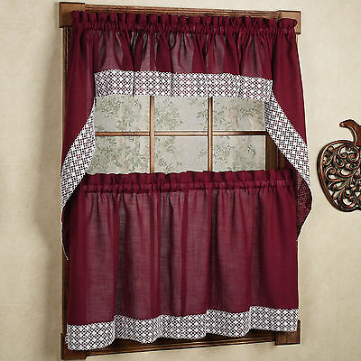 Salem Kitchen Curtain – Blue W/white Lace Trim – Lorraine Regarding French Vanilla Country Style Curtain Parts With White Daisy Lace Accent (Image 23 of 25)