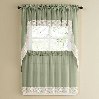 Salem Kitchen Curtain – Blue W/white Lace Trim – Lorraine Within French Vanilla Country Style Curtain Parts With White Daisy Lace Accent (Image 24 of 25)
