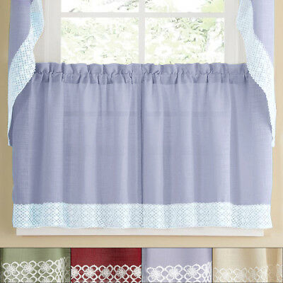 Salem Kitchen Window Curtain W/ Lace Trim – 24 X 60 Tier Pair | Ebay In French Vanilla Country Style Curtain Parts With White Daisy Lace Accent (Image 25 of 25)