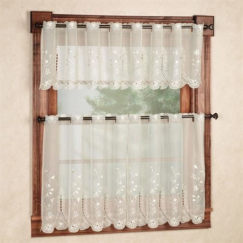 Samantha Embroidered Sheer Tier Window Treatments Throughout Sheer Lace Elongated Kitchen Curtain Tier Pairs (View 20 of 25)