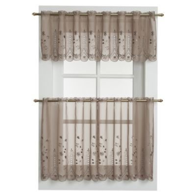 Samantha Sheer Window Curtain Tier Pairs In Taupe Inside Sheer Lace Elongated Kitchen Curtain Tier Pairs (View 2 of 25)