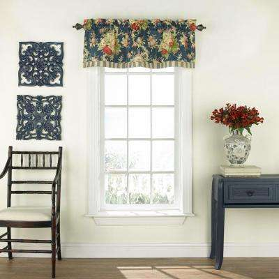 Sanctuary Rose Floral Window Valance In Heritage Blue – 52 In. W X 16 In (Image 11 of 25)