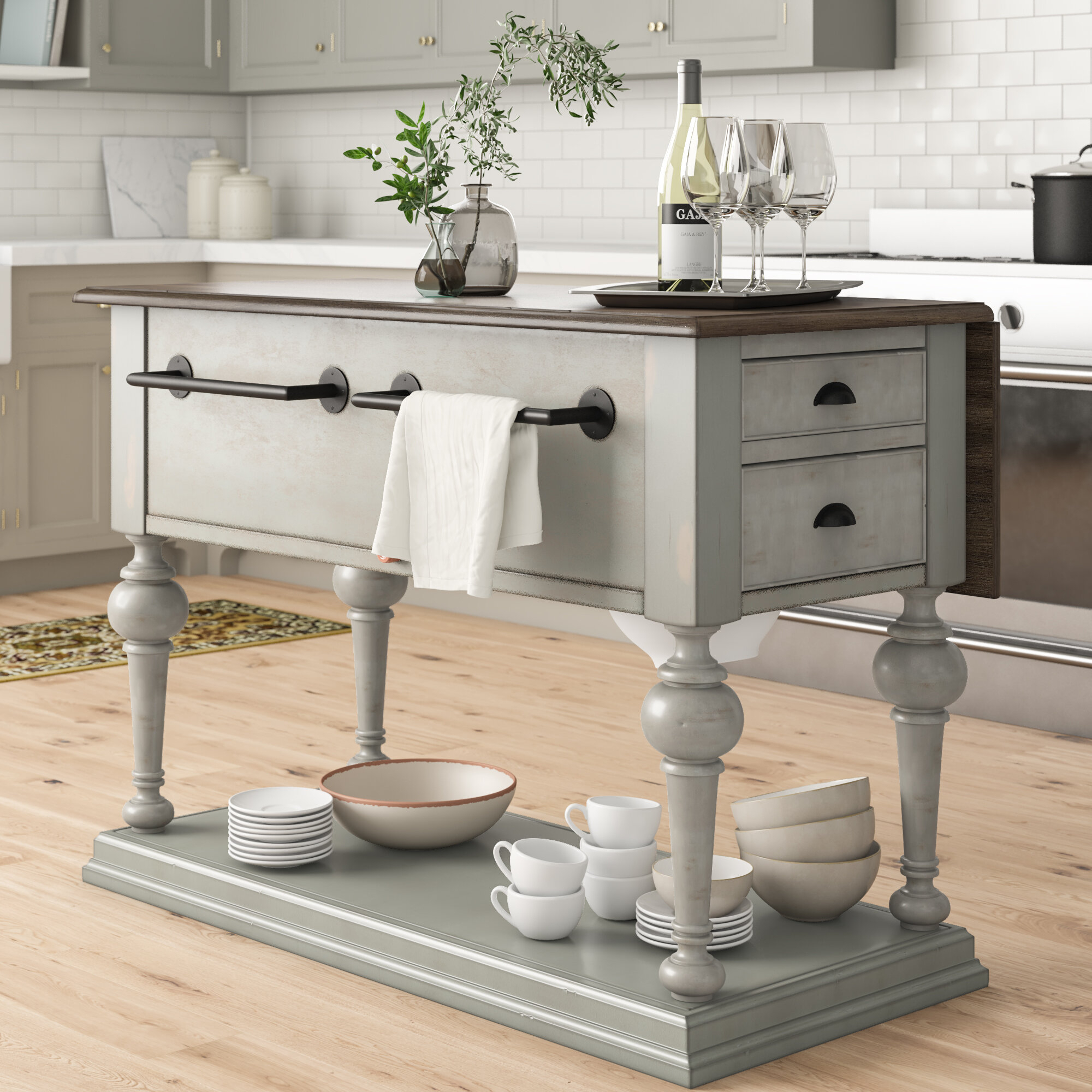 Sandbach Kitchen Island With Wood Top With Regard To 2018 Elworth Kitchen Island (View 8 of 25)