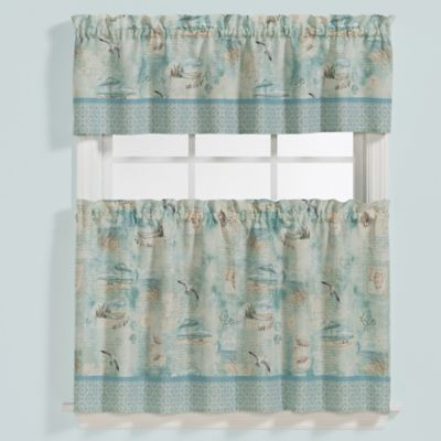 Saturday Knight High Tide 36 Inch Window Curtain Tier Pair With Seabreeze 36 Inch Tier Pairs In Ocean (View 14 of 25)
