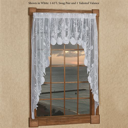 Sea Treasures Coastal Lace Window Valances Regarding Tailored Toppers With Valances (View 23 of 25)