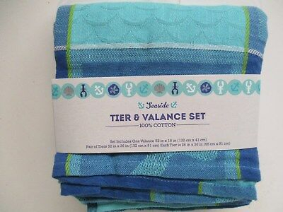 Sea Turtle Window Tier & Valance Set – Nautical Beach Pertaining To Coastal Tier And Valance Window Curtain Sets (Image 21 of 25)