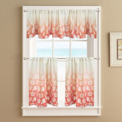 """Seascape Lined 36"""" Window Curtain Tier Pair Coral 