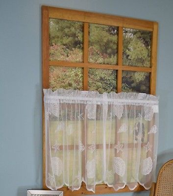 Seashells Starfish Lace Coastal Ivory Kitchen Curtains 36L With Regard To Coastal Tier And Valance Window Curtain Sets (Image 22 of 25)