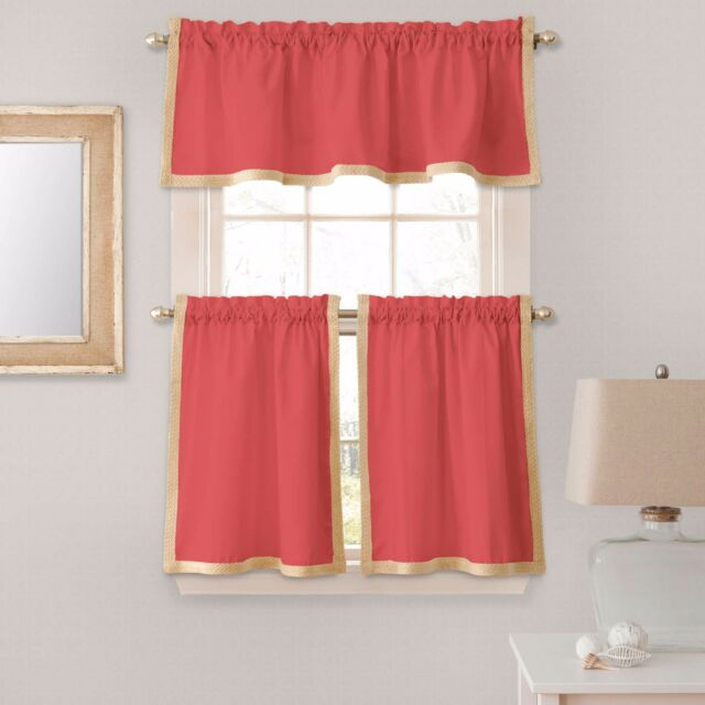 Seaview 36 Inch Window Curtain Kitchen Tier Pairs In Coral With Regard To Waverly Kensington Bloom Window Tier Pairs (View 6 of 25)
