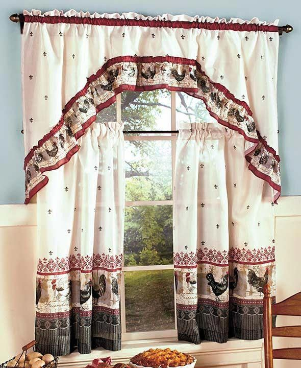 Seek This Essential Picture And Take A Look At The Here And Intended For Traditional Two Piece Tailored Tier And Swag Window Curtains Sets With Ornate Rooster Print (View 6 of 25)