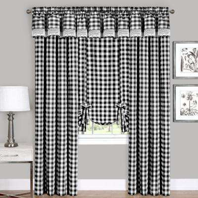 Semi Opaque Buffalo Check Black Poly/cotton Window Curtain Panel 42 In. W X 63 In (View 5 of 25)