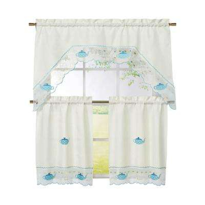 Semi Opaque Tea Party Embroidered 3 Piece Kitchen Curtain Tier And Valance Set Inside Microfiber 3 Piece Kitchen Curtain Valance And Tiers Sets (View 18 of 25)