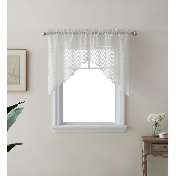Semi Sheer Cafe Curtains | Wayfair In White Micro Striped Semi Sheer Window Curtain Pieces (Image 13 of 25)