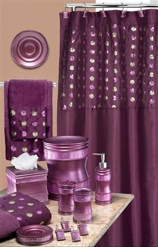 Sequins Purple Bath Accessory Set–This Has Everything I In Complete Cottage Curtain Sets With An Antique And Aubergine Grapvine Print (View 11 of 25)
