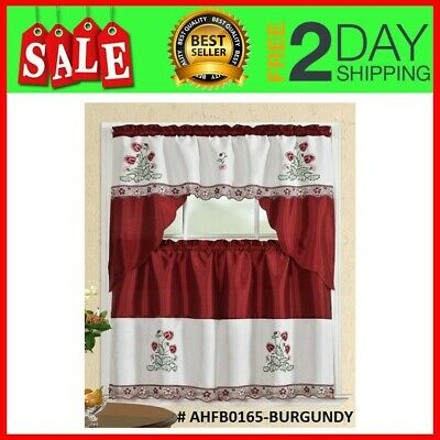 Set 3 Piezas Para Cortina De Cocina 2 Tiers 1 Valance Window Kitchen Curtain New 841380131485 | Ebay Intended For Red Delicious Apple 3 Piece Curtain Tiers (View 5 of 25)