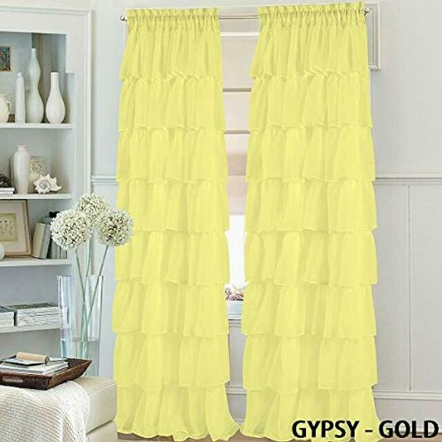 """Set Of Panels 2 Gypsy Ruffle Window Curtain 84"""" Long, Semi Sheer Voile Rod Regarding Chic Sheer Voile Vertical Ruffled Window Curtain Tiers (View 16 of 25)"""