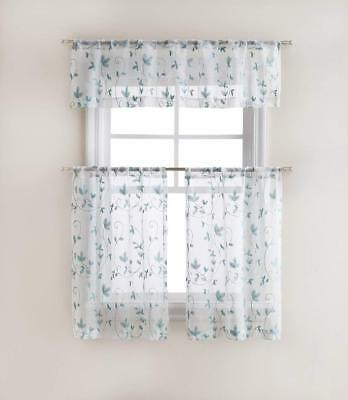 Set Of Two Goodgram Cassandra Floral Embroidered Kitchen Curtain Tier & Valance | Ebay Within Urban Embroidered Tier And Valance Kitchen Curtain Tier Sets (View 19 of 25)
