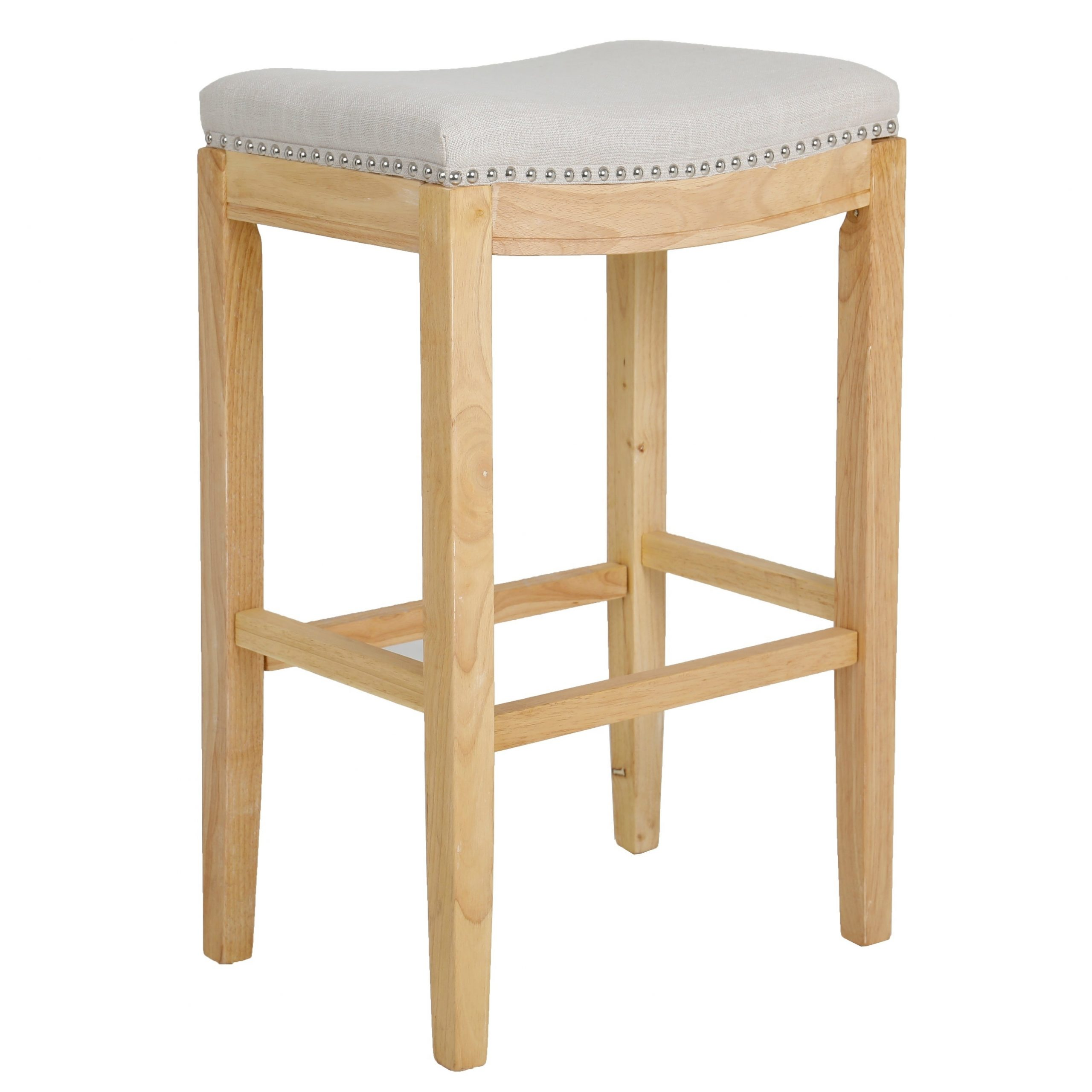 Shabaz Backless Stools, Linen Beige Fabric Bar Height, Set Of 2 For Recent Griffin Reclaimed Wood Bar Height Tables (View 17 of 25)