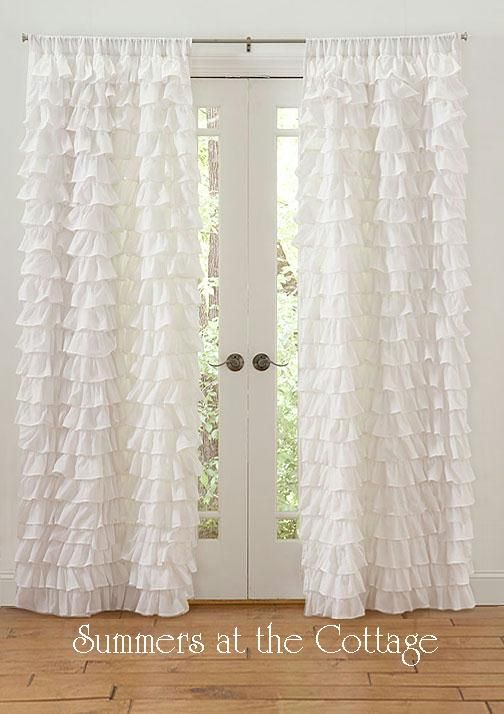 Shabby Beach Cottage Chic Dreamy White Petticoat Ruffles Regarding White Ruffled Sheer Petticoat Tier Pairs (View 2 of 25)