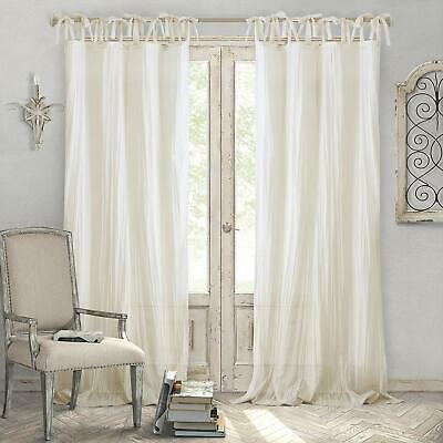 Shabby Chic Ivory Curtains Semi Sheer 52 X 95 Window Drape Adjustable Home  Decor | Ebay Throughout White Micro Striped Semi Sheer Window Curtain Pieces (Image 16 of 25)
