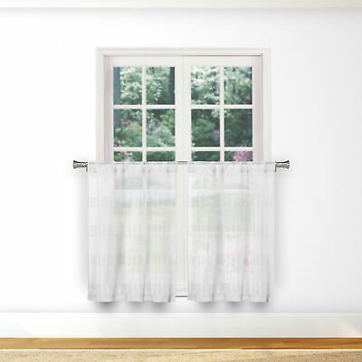 Sheer 2 Pc White Window Curtain Café/tier Set: 3D Soft Tufts Regarding White Tone On Tone Raised Microcheck Semisheer Window Curtain Pieces (Image 20 of 25)
