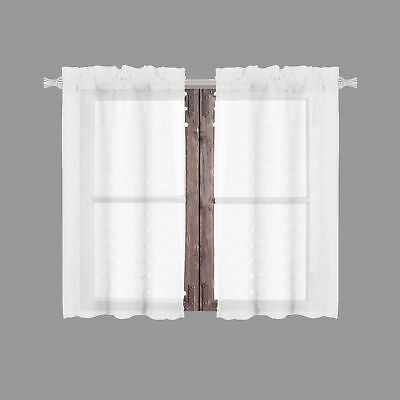 Sheer 2 Pc White Window Curtain Café/tier Set: 3D Soft Tufts With Regard To White Tone On Tone Raised Microcheck Semisheer Window Curtain Pieces (Image 21 of 25)