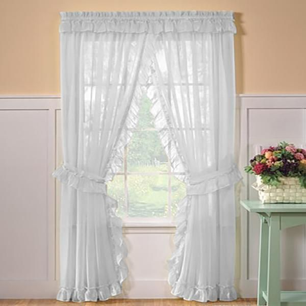Sheer Priscilla Panel Pair With Attached Valance In 2019 Regarding Elegant White Priscilla Lace Kitchen Curtain Pieces (View 14 of 25)