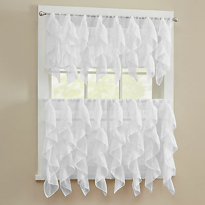 Sheer Voile Vertical Ruffle White Window Kitchen Curtain Intended For Navy Vertical Ruffled Waterfall Valance And Curtain Tiers (View 2 of 25)