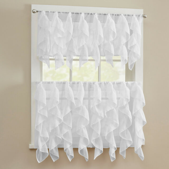 Sheer Voile Vertical Ruffle White Window Kitchen Curtain Tiers Or Valance Inside Pintuck Kitchen Window Tiers (View 14 of 25)