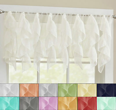 Sheer Voile Vertical Ruffle Window Kitchen Curtain 12 Intended For Vertical Ruffled Waterfall Valances And Curtain Tiers (Image 15 of 25)